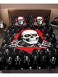 cheap -3D Printing Home Bedding Duvet Cover Sets Soft Microfiber For Kids Teens Adults Bedroom Skull Halloween 1 Duvet Cover + 1/2 Pillowcase Shams
