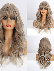 cheap -Synthetic Wig Deep Wave Neat Bang Wig Medium Length A3 Synthetic Hair Women's Cosplay Party Fashion Blonde Brown