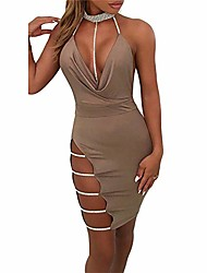 cheap -Women's Strap Dress Midi Dress Black khaki Sleeveless Solid Color Summer Sexy 2021 S M L XL