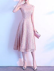 cheap -A-Line Sparkle Elegant Homecoming Cocktail Party Dress High Neck Sleeveless Tea Length Sequined with Sequin 2021