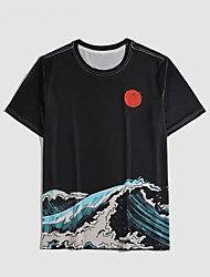 cheap -Men's Unisex T shirt Hot Stamping Spray Plus Size Print Short Sleeve Casual Tops 100% Cotton Basic Casual Fashion Black