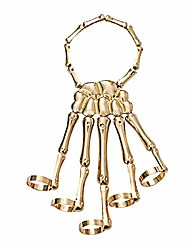 cheap -skull ghost claw bracelet, men's and women's halloween skeleton skeleton bracelet with ring, punk rock gothic skeleton claw (golden)