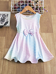 cheap -Kids Little Girls' Dress Tie Dye Causal Pleated Blushing Pink Knee-length Sleeveless Active Dresses
