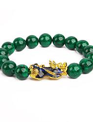 cheap -pi xiu bracelet feng shui green jade wealth bracelet for women men adjustable elastic
