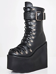 cheap -Women's Boots Wedge Heel Round Toe Mid Calf Boots Punk & Gothic Daily PU Synthetics Buckle Lace-up Black