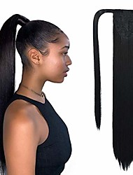 cheap -hua si straight synthetic ponytail extension, 22 inch heat resistant thick natural wrap around hairpiece ponytail wrap pony wig with magic paste for women girl, black