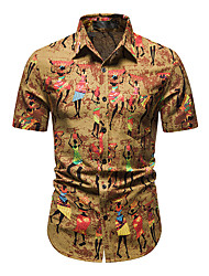 cheap -Men's Shirt Other Prints Abstract Short Sleeve Daily Tops 100% Cotton Yellow
