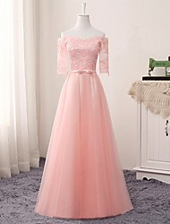 cheap -A-Line Jewel Neck Floor Length Lace / Tulle Bridesmaid Dress with Appliques