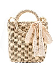 cheap -Women's Bags Top Handle Bag Straw Bag Date Beach 2021 Handbags Khaki Beige