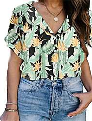 cheap -Women's Plus Size Tops Blouse Print Floral Large Size Shirt Collar Short Sleeve Streetwear Big Size S M L XL 2XL Black Green