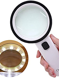 cheap -Magnifier Magnifying Glass Set Handheld High Magnification with Lighting Function Illuminated LED 30 Reading Inspection Macular Degeneration 80 mm ABS+PC Kid's Adults' Seniors