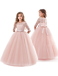 cheap -Kids Little Girls' Dress Solid Colored Wedding Party Pegeant Hollow Out Bow White Purple Red Maxi Flower Ball Gown Princess Dresses Easter 3-13 Years