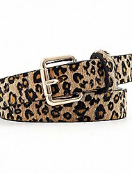 cheap -women's leopard print belt skinny artificial horse hair cheetah vintage alloy gold buckle for jeans pants by feluz
