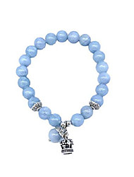 cheap -viela stretch blue opal lucky stone bracelet reiki healing crystal gemstone dangle charms crown bracelet