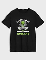 cheap -Men's Unisex T shirt Hot Stamping Alien Plus Size Print Short Sleeve Casual Tops 100% Cotton Basic Casual Fashion Black