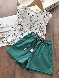 cheap -Kids Girls' Clothing Set Sleeveless White Geometric Basic