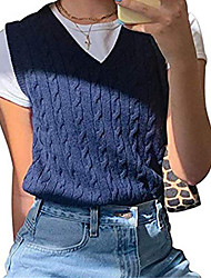cheap -knitted sweater ladies elegant sleeveless v-neck vest monochrome cable knit autumn sweater tank top top knitted vest