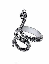 cheap -thumbs snake rings,punk animal ringgothic retro black metal-serpentine ring unisex adjustable fashion gift (silvery)