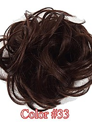 cheap -heat resistant synthetic hair extension curly chignon with rubber band donut 2913