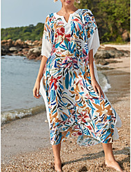 cheap -Women's Swimsuit Cover Up Beach Top Swimsuit Oversized Print Abstract Camo White Black Swimwear T shirt Dress Tunic V Wire Bathing Suits New Fashion Sexy
