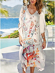 cheap -Women's Swimsuit Cover Up Beach Top Swimsuit Slim Print Abstract Leaf White Swimwear T shirt Dress Tunic V Wire Bathing Suits New Fashion Sexy