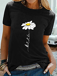 cheap -Women's Floral Theme T shirt Graphic Daisy Print Round Neck Tops 100% Cotton Basic Basic Top Black