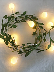 cheap -6M 3M Tiny Ivy Leaf With Ball Garland Fairy Light LED Flexible String Lights for Wedding Table Christmas Home Party Decoration AA Battery Power Warm White Lighting