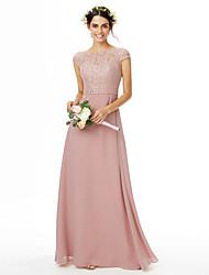 cheap -Sheath / Column Bateau Neck Floor Length Chiffon / Lace Bridesmaid Dress with Lace / Sash / Ribbon / Bow(s)