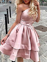 cheap -A-Line Minimalist Sexy Homecoming Cocktail Party Dress One Shoulder Sleeveless Short / Mini Satin with Tier 2021