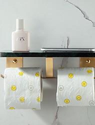 cheap -Copper Brushed Gold Paper Towel Holder  Bathroom Marble Roll Paper Holder Double Hook Shelf Toilet Paper Holder