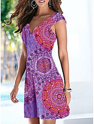 cheap -Women's Shift Dress Short Mini Dress Blue Purple Green Short Sleeve Print Print Summer V Neck Sexy 2021 S M L XL XXL