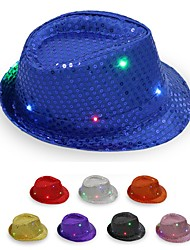 cheap -Glowing LED Flashing Sequins Jazz Hats Fedora Hat Cap Birthday Party Show Dance Wedding Decoration Halloween