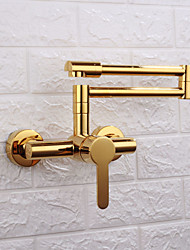 cheap -Kitchen faucet - Single Handle Two Holes Electroplated / Painted Finishes Pull-out / ­Pull-down / Pot Filler Wall Mounted Contemporary Kitchen Taps
