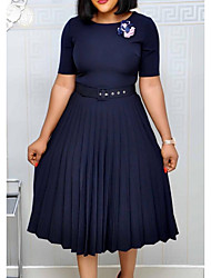 cheap -Women's Plus Size Dresses A Line Dress Knee Length Dress Short Sleeve Solid Color Ruched Casual Spring &  Fall Wine Green Navy Blue S M L XL XXL / Loose