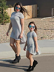 cheap -Mommy and Me Family Matching Outfits Dress Casual / Daily Solid Colored Short Sleeve Light gray Asymmetrical Spring & Summer Basic