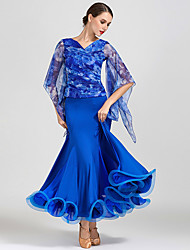 cheap -Ballroom Dance Dress Ruffles Pattern / Print Women's Training Performance Half Sleeve Natural Milk Fiber