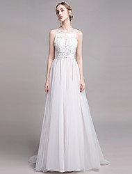 cheap -A-Line Wedding Dresses Jewel Neck Floor Length Lace Tulle Sleeveless Romantic with Beading Appliques 2021