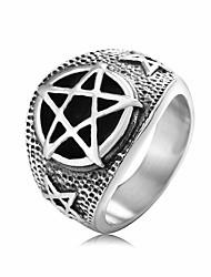 cheap -men's stainless steel rings retro evil satanist inverted pentagram rings jewelry