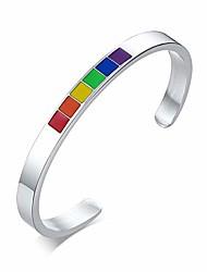 cheap -yfstyle rainbow pride bracelet for men women cuff bangle bracelets stainless steel gay pride bracelet lgbtq accessories lesbian gifts for girlfriend-silver 65mm