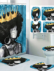 cheap -Four-piece Set of Leisure Toilet for Woman with Crown in Bathroom Shower Curtain