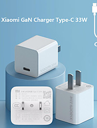 cheap -Original Xiaomi Mi GaN Charger Type-C 33W Wall Charger Safe and Secure Charging Fast Charger Portable Charger Quick Charge Support 3A Max With C-To-C Charging Adpter for iPhone Xiaomi Samsung Oneplus