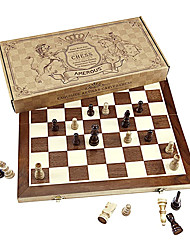 """cheap -Chess Set, 15""""x15"""" Folding Magnetic Wooden Standard Chess Game Board Set with Wooden Crafted Pieces and Chessmen Storage Slots"""