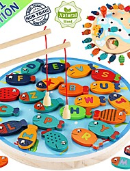 cheap -Magnetic Wooden Fishing Game Toy for Toddlers - Alphabet Fish Catching Counting Preschool Board Games Toys for 3 4 5 Year Old Girl Boy Kids Birthday Learning Education Math with Magnet Poles