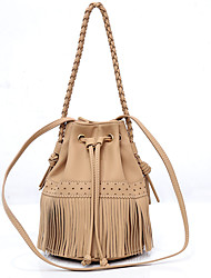 cheap -Women's Bags PU Leather Crossbody Bag Tassel Plain Daily Going out 2021 Handbags MessengerBag Other colors can be customized Black khaki off-white