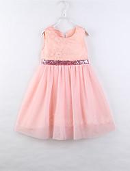cheap -Toddler Little Girls' Dress Flower White Red Blushing Pink Knee-length Sleeveless Dresses Children's Day Spring, Fall, Winter, Summer