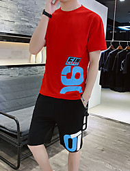 cheap -Men's Sweatsuit 2 Piece Set Artistic Style Crew Neck Sport Athleisure Clothing Suit Short Sleeves Breathable Soft Comfortable Exercise & Fitness Everyday Use Outdoor Fitness Exercising / 2pcs / pack