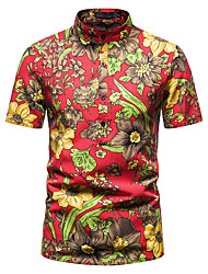 cheap -Men's Shirt Other Prints Abstract Short Sleeve Daily Tops 100% Cotton Brown