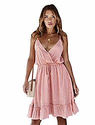 cheap -nuosife women's polka dot sexy cross v neck spaghetti strap mini swing skater summer sundress beach dress for women pink