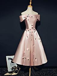 cheap -A-Line Off Shoulder Ankle Length Satin Bridesmaid Dress with Appliques