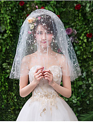 cheap -Two-tier Cute Wedding Veil Shoulder Veils with Starfish and Seashell Tulle